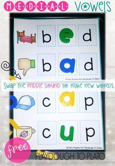 Free build a word mats! What a fun way to teach kids about vowels in CVC words. This would be a great guided reading activity or literacy center in kindergarten or first grade.