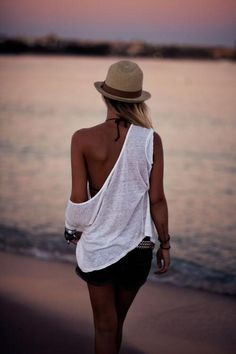 off shoulder beach style, hat, shorts