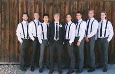 groomsmen in suspenders