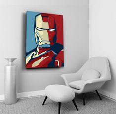 Iron Man Wall Art, Marvel Comics Wall Decor, Avengers Painting, Superhero Canvas Print, Movie Lover Gift Idea, Home Decor, Kids Room Decor