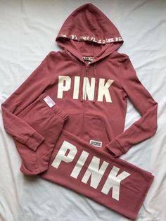 Victoria's Secret Pink Boyfriend Sweatpants Hoodie Outfit Soft Begonia Small New #VictoriasSecretPINK #SweatSuits