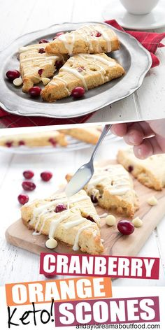 Cranberry orange scones embody the best of the season. These almond flour scones are incredibly tender and bursting with flavor, with a sugar-free white chocolate drizzle. Low Carb Chicken Recipes, Healthy Low Carb Recipes, Low Carb Desserts, Low Carb Keto, Keto Recipes, Dessert Recipes, Jelly Recipes, Keto Chicken, Shrimp Recipes