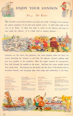 LT Enjoy Your London No 4 The River 1949 - original vintage London Underground poster by Betty Swanwick listed on AntikBar.co.uk