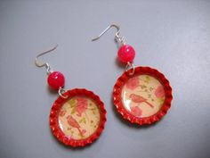 Vintage Style Cherry Soda Bottle Cap Earrings by Beads4You2008,