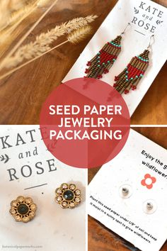 Eco-friendly jewelry packaging and #seedpaper earring cards made out of paper waste, non-invasive wildflower seeds, and #recycled materials. Paper Packaging, Jewelry Packaging, Making Out, Card Making, Seed Paper, Green Business, Waste Paper, Planting Roses, Wildflower Seeds