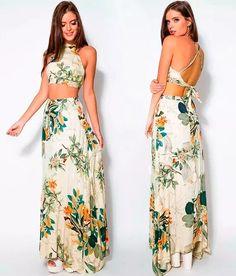 cropped top + saia e vestido longo floral natureza estampado