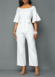 Flare Sleeve Off the Shoulder White Jumpsuit - Jumpsuits and Romper Jumpsuit Outfit, White Jumpsuit, Elegant Jumpsuit, Short Jumpsuit, Long Jumpsuits, Jumpsuits For Women, Winter Jumpsuits, Jumpsuit With Sleeves, Lace Pants