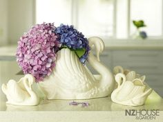 Home Life Article: Season of the swan - NZ House & Garden Hydrangea Flower, Hydrangeas, 2017 Decor, Whatsoever Things Are Lovely, Swan Love, Vintage Planters, Ultimate Collection, White Vases, Caravans