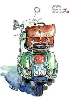 The back of the old Weiss A green Vespa – – cybertruck Arte Sketchbook, Watercolor Sketchbook, Pen And Watercolor, Watercolor Illustration, Watercolor Paintings, Illustration Vespa, Art Sketches, Art Drawings, Disney Sketches