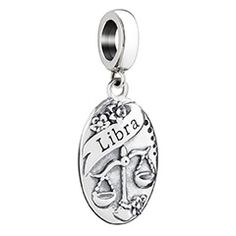 2010-3299. Your sign has been beautifully rendered by our artists in sterling silver. Filled with rich, lyrical detail on the front, it features the Zodiac symbol for Libra on the highly polished reverse side. Add this personalized charm to your bracelet or wear it quite stylishly on a neck chain. Includes a charm card describing the traits of this sign