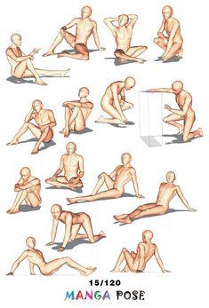 Tutorial Drawing Manga pose. Big posebook for manga anime character : Sitting poses