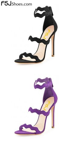Women's Style Sandal Shoes Fall Fashion Wedding Dresses Shoes Spring Outfit 2018 Christmas Outfit Women New Year Holiday Party Outfit 2018 Unique Wedding Dresses Shoes Women's Fashion Lelia Black, Purple Open Toe Ruffle Strappy Stiletto Heels Ankle Strap Sandals Winter Fashion Prom Shoes| FSJ