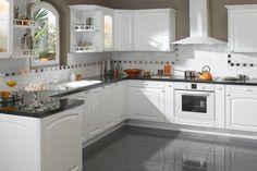 Idée relooking cuisine  Cuisine traditionnelle en blanc