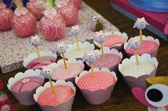 Adorables adornos para cupcakes en una fiesta buho! / Adorable cupcake toppers for an Owl party!