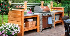 Kitchen:Bbq Island Lowes How To Build A Grill Surround Using Wall Block Cinder Block Outdoor Grill How To Build An Outdoor Kitchen With Metal Studs Diy Outdoor Kitchen Kits Startling Simple Outdoor Kitchen Plans Simple Outdoor Kitchen, Outdoor Kitchen Plans, Backyard Kitchen, Outdoor Kitchen Design, Backyard Patio, Kitchen Decor, Patio Design, Cheap Kitchen, Deck Kitchen Ideas