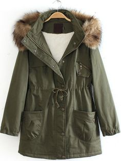 To find out about the Army Green Detachable Fur Trimmed Hood Lined Parka at SHEIN, part of our latest Outerwear ready to shop online today! Faux Coat, Faux Fur Collar Coat, Faux Fur Hooded Coat, Hooded Coats, Women's Coats, Military Style Coats, Military Parka, Military Green, Army Green