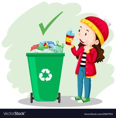 A girl put the glass in the trash can Royalty Free Vector Soft Board Decoration, Preschool Games, Activities, Kindergarten, Polka Dot Birthday, Islam For Kids, School Clipart, School Painting, Picture Story