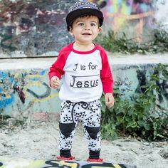 """J is for Jesus"" Kids 3/4 Raglan"