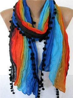 NEW--Multicolor Scarf -- Shawl Scarf -   Cowl Scarf bridesmaid gift- Women's fashion - Pompom Scarf