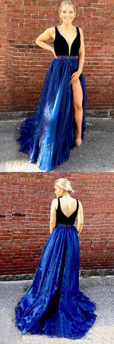 Blue Prom Dresses, Long Prom Dresses, 2018 Prom Dresses For Teens, A-line Prom Dresses V-neck, Organza Velvet Prom Dresses Beading Modest Best Formal Dresses, Open Back Prom Dresses, Simple Prom Dress, Prom Dresses For Teens, V Neck Prom Dresses, Perfect Prom Dress, A Line Prom Dresses, Tulle Prom Dress, Prom Dresses Online