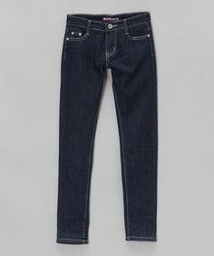 Loving this Azure Rhinestone-Pocket Jeans - Girls on #zulily! #zulilyfinds