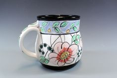 Blue and Black Banded mug with Flowers and Leaves by ateliermarla, $30.00