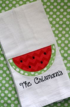 Watermelon Applique Flour Sack Towel with by GabbyNikolich on Etsy, $15.00
