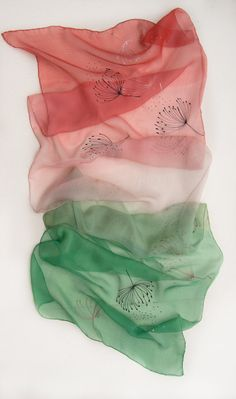 Watermelon Ombre scarf hand painted. Pink green silk by klaradar