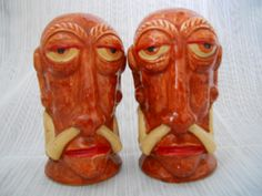 Tribal Men salt and Pepper Shakers - vintage, collectible, tribal, Japan by DEWshophere on Etsy