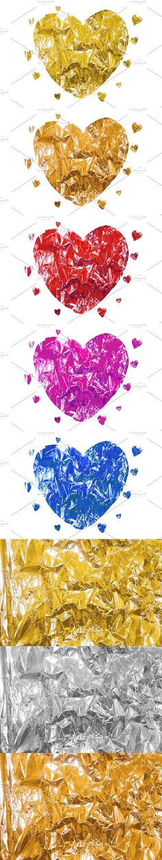 Heart made of foil. Big set. Vector. Wedding Card Templates