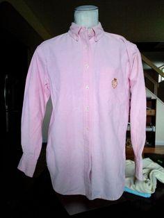 Ralph Lauren Women's 8 solid pink, casual, long sleeves, button down shirt cott #RalphLauren #ButtonDownShirt #Casual
