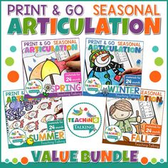 Articulation Print and Go Seasons Bundle contains several projects that will keep your mixed articulation groups entertained all year round. Articulation Therapy, Articulation Activities, Speech Therapy Activities, Speech Language Therapy, Language Activities, Speech And Language, Oral Communication Skills, Teaching Vocabulary, Game Boards