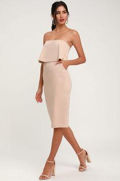 c046d81caa Lots of Love Beige Strapless Midi Dress One Shoulder, Shoulder Dress,  Strapless Dress,
