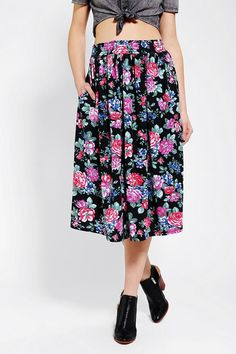 Urban Renewal Floral Jersey Knit Skirt #urbanoutfitters