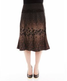 Loving this Brown & Tan Star Trumpet Skirt on #zulily! #zulilyfinds