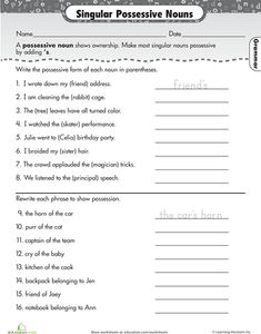 Worksheet Noun Worksheets High School worksheets parents and nouns worksheet on pinterest possessive worksheet