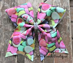 Valentine's Day Candy Glitter Cheer Bow Soccer Bow or Softball Bow