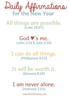 Let's start the year choosing what we focus our thoughts on and the words we speak to ourselves through Daily Affirmations for the New Year. #dailyaffirmations #christianaffirmations