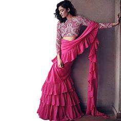 Ruffle Saree : Stylish Pink Ruffle Saree Trendy Sarees, Stylish Sarees, Fancy Sarees, Party Wear Sarees, Kurti, Churidar, Patiala, Salwar Kameez, Salwar Suits
