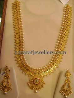 Jewellery Designs: Kasu Mala with Chandbalis 150 Gms