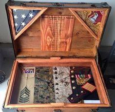 Chris' Antique Trunk Used as Marine Retirement Shadow Box and Storage Chest Military Retirement Parties, Retirement Gifts, Retirement Celebration, Retirement Ideas, Military Shadow Box, Military Love, Marine Corps, Marine Flag, Marine Mom