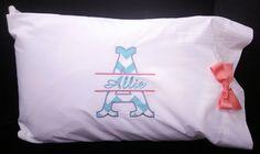 Personalized Pillowcase Split Letter Applique Chevron