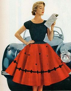 Another 1950s felt skirt with polka dot abstract design