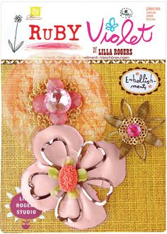 PRIMA FLOWERS Ruby Violet Floral Pink Yellow by ZeusandZoe on Etsy, $4.50