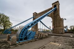 Grunwaldzki Bridge, Wroclaw, Poland -- one of close to hundred bridges in Wroclaw, it is a suspension bridge.