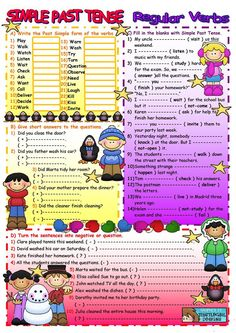 Past Simple Regular Verbs - English Esl Worksheets images ideas from Worksheets Ideas English Grammar Worksheets, Verb Worksheets, English Vocabulary, Printable Worksheets, Grammar Exercises, English Exercises, English Lessons, Learn English, Pasado Simple