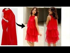 in today's video i am going to show you how to transform/revamp/upcycle old sarees into a trendy ruffle/flowy dress. these dresses are very much in fashion a. Sleeves Designs For Dresses, Dress Neck Designs, Blouse Designs, Frocks For Girls, Dresses Kids Girl, Diy Dress, Ruffle Dress, Dress Party, Wrap Dress