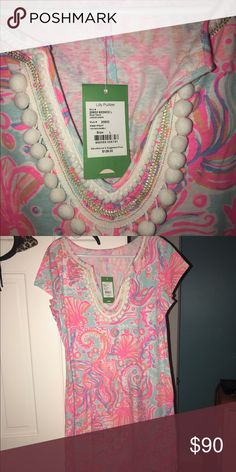 Lilly Pulitzer NWT Pink Pout To Much Bubbly Lilly dress. Size Large. Lilly Pulitzer Dresses Midi