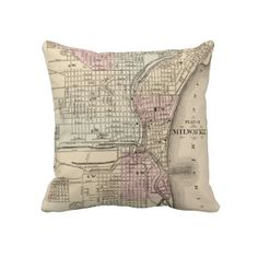 Vintage Map of Milwaukee (1880) Throw Pillows from Zazzle.com $62.40