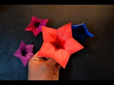 How to make an Origami Petunia Flower [Tutorial] - Ujang Karnadi Origami Butterfly Easy, Instruções Origami, Origami Ball, Origami Bookmark, Paper Crafts Origami, Origami Stars, Simple Origami Flower, Origami Tutorial, Origami Flowers Instructions